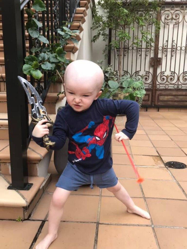Nate pretends to be a pirate less than 24 hours after undergoing brain surgery in Sydney. Picture: NATE'S MATES