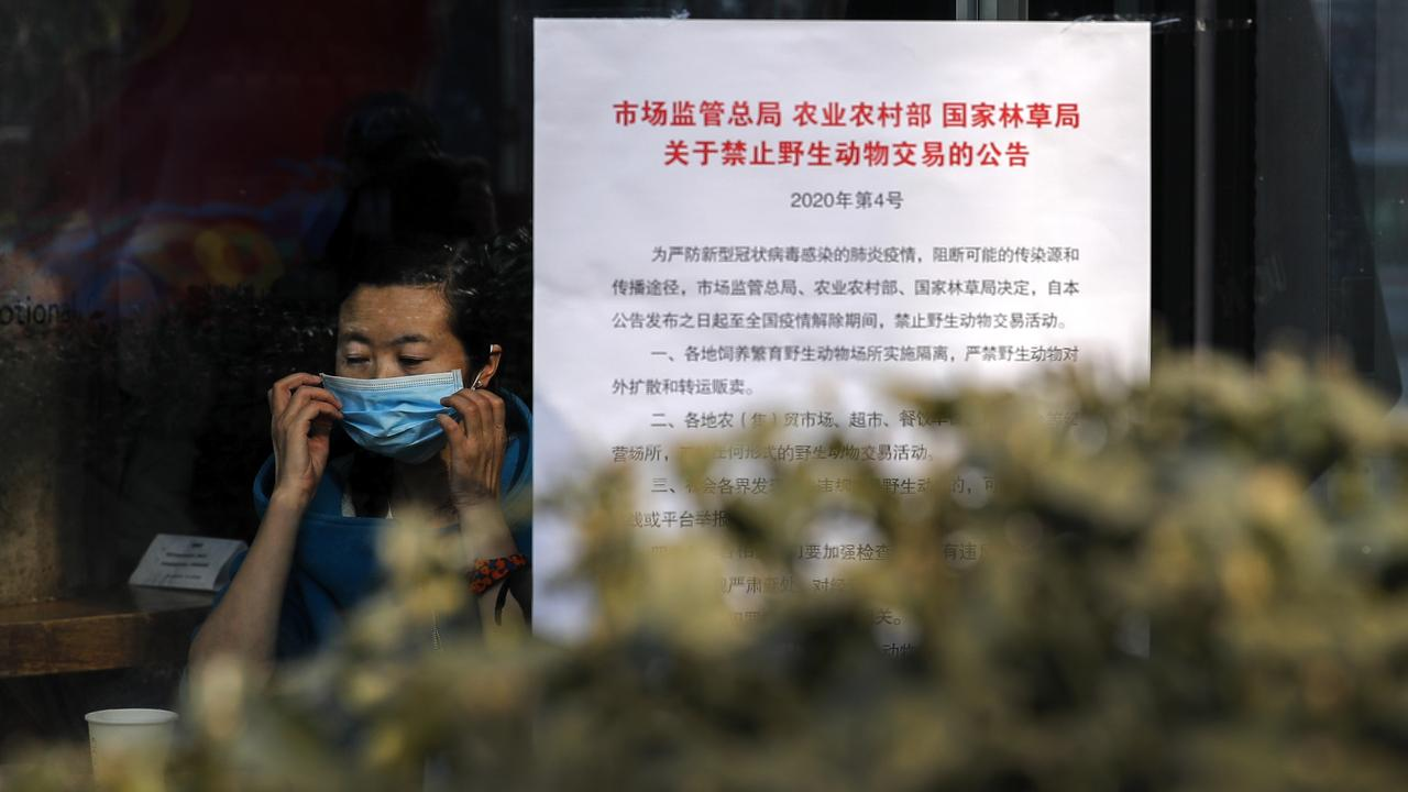 A notice board that reads 'Bans on wild animals trading following the coronavirus outbreak' at a cafe in Beijing on Monday, February 10, 2020. Picture: Andy Wong/AP