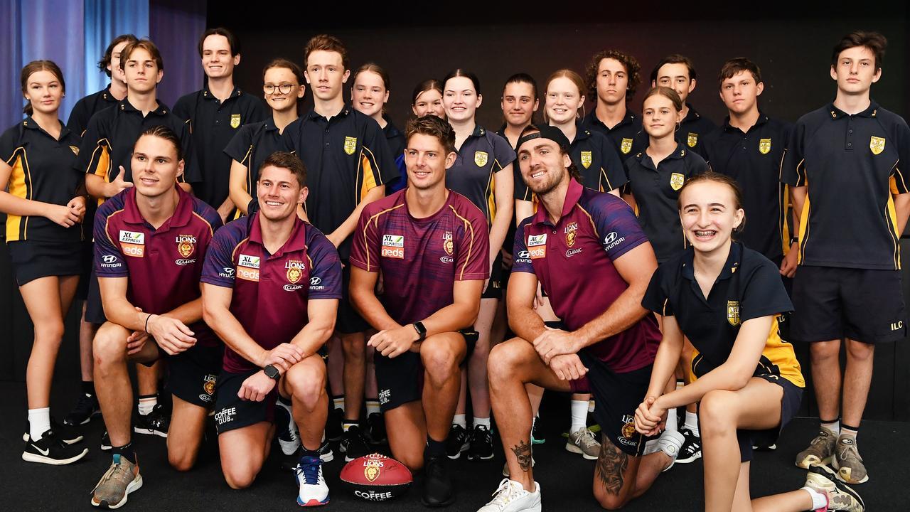 COMMUNITY CAMP: Brisbane Lions player, Eric Hipwood, Dayne Zorko, Tom Fullarton and Rhys Mathieson, with students at Immanuel College. Photo: Patrick Woods / Sunshine Coast Daily.
