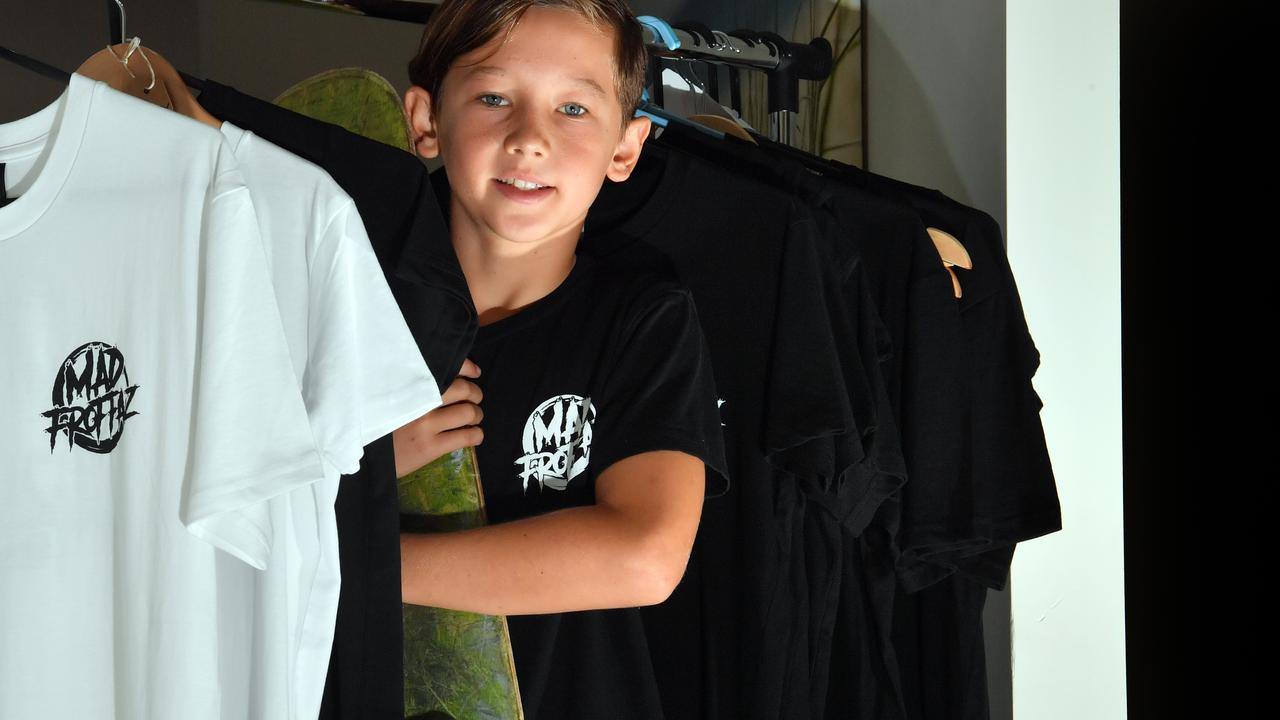 11-year-old Mitch Cohen has his own skate and surf clothing line Mad Froffaz. Photo: John McCutcheon / Sunshine Coast Daily