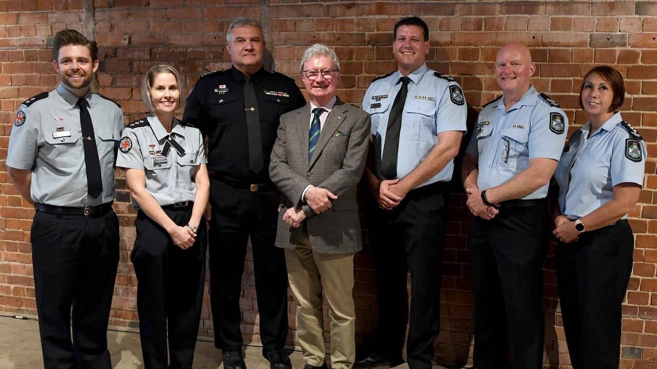 ROCKHAMPTON VISIT: Members of the Emergency Services Jarath Cobcroft, Jenni Cousens, Bradley Lambourne, Cameron Barwick, Michael Muir, and Kelly Hanlen welcomed the visit of Queensland Governor Paul de Jersey AC (centre).