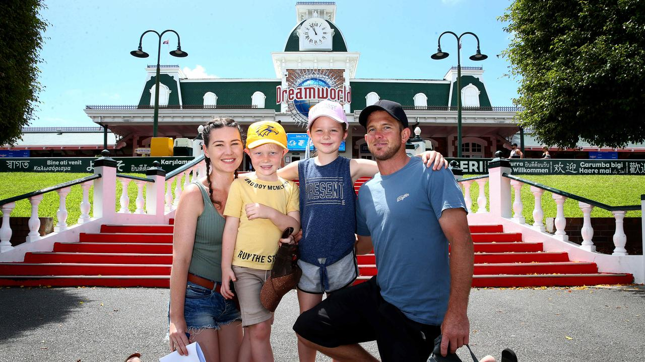 Ashlee Jones, Ryley Berry 6, Zoe Berry 8 and Tony Berry from Perth make a visit to Dreamworld on their holidays. Picture: Adam Head.