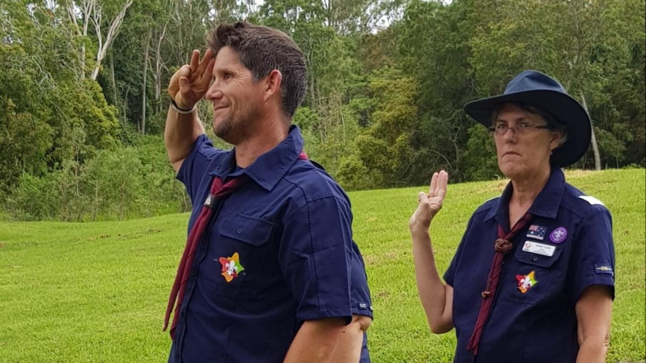 SCOUT'S HONOUR: Justin Knight Gray (left) being inducted as a Scouts leader. Picture right is Proserpine Scouts group leader Wendy Harm. Picture: Supplied.