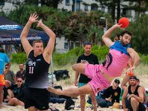 Beach handball championships fire despite weather