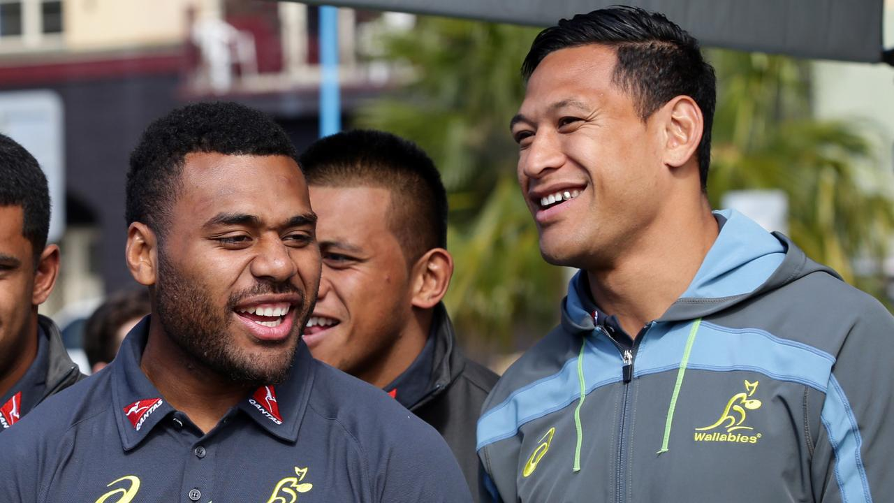Samu Kerevi (left) with Israel Folau. Picture: Craig Wilson