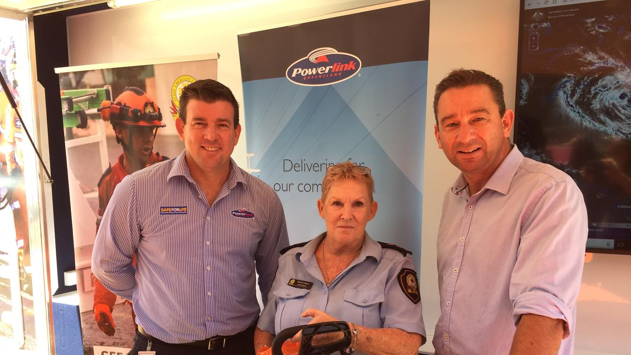 Checking out the new gear are (from left) Powerlink executive manager Tim Byrne, Laidley SES group leader Desley Liddle and Queensland fire and emergency services minister Craig Crawford.