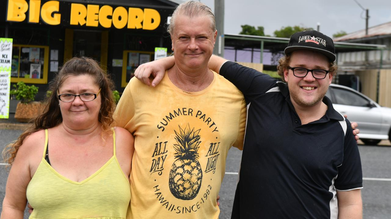 Narelle Towells, Scott Collins and Joshua Towells at their new business the Big Record Diner.
