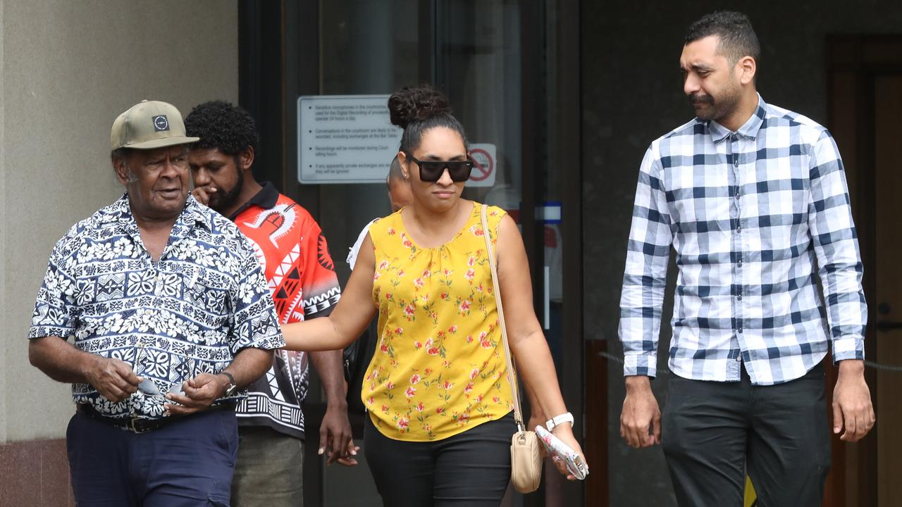 Relatives of the three-year-old boy leaving Cairns court yesterday. PICTURE: STEWART McLEAN