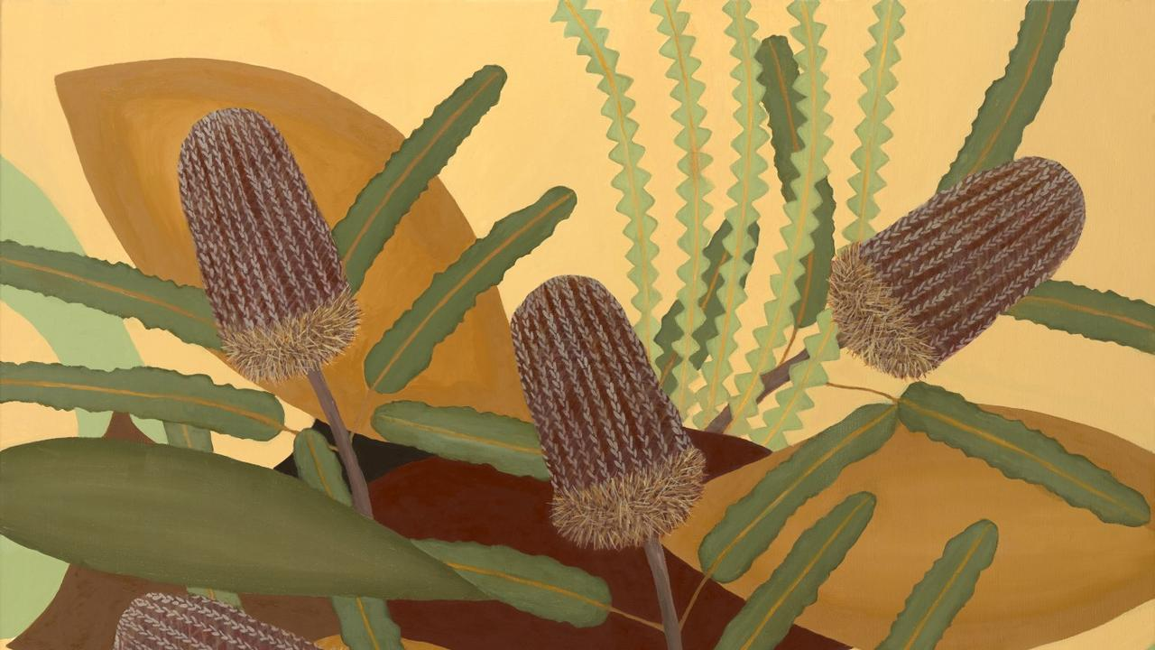 Judy Oakenfull, 'Five Firewood Banksias' 2019, oil on canvas, 60 x 76cm © The artist PHOTO: Tweed Shire Council