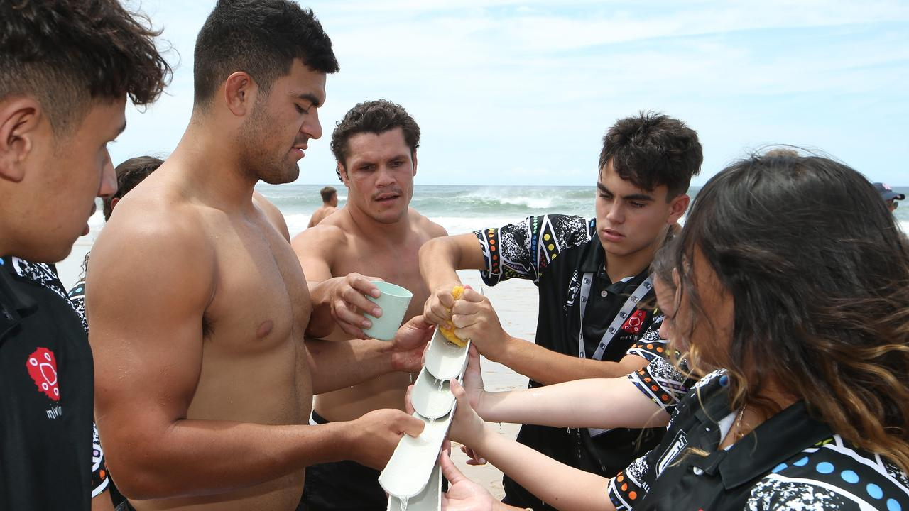 Fifita and James Roberts take part in activities with Indigenous Youth Summit members. Photo: Glenn Hampson