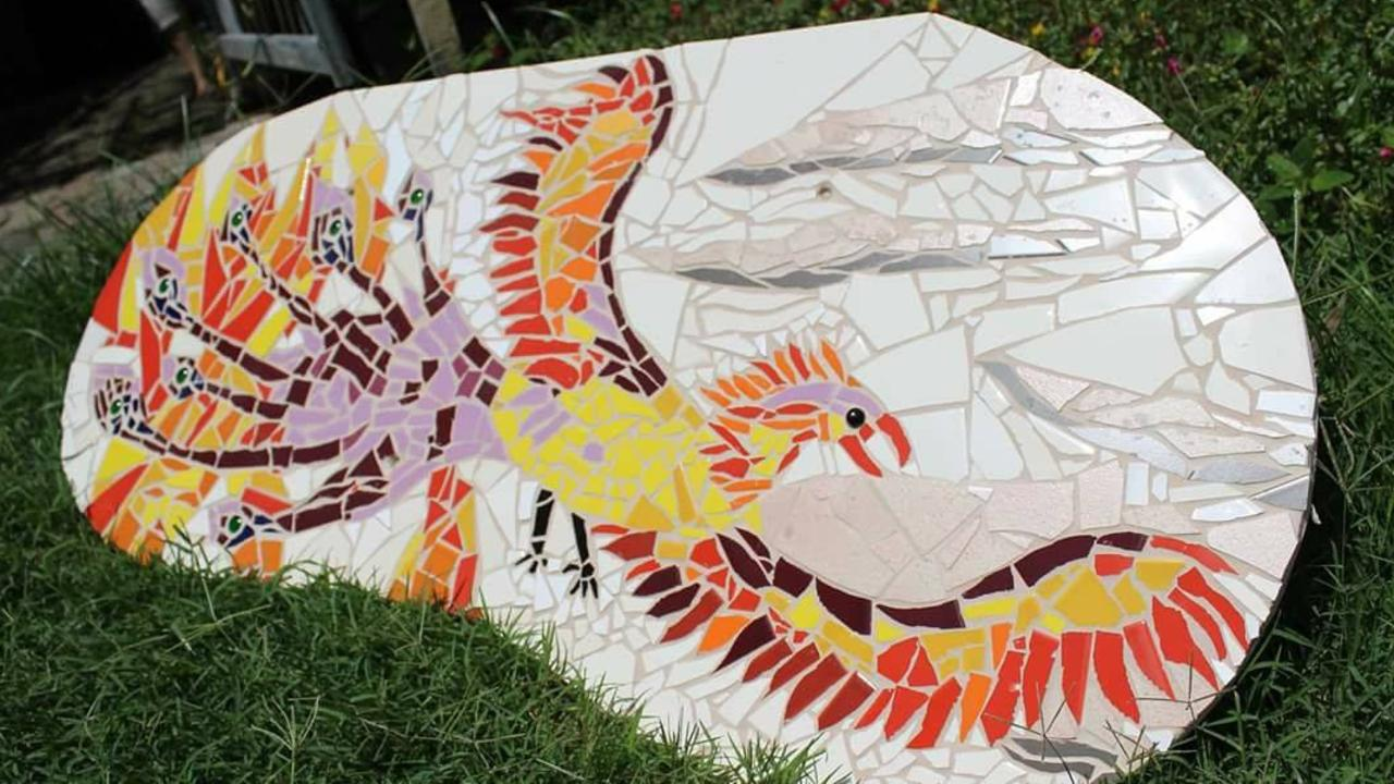 PIECE WORK: A mosaic for the pizza oven under construction at Mackay's Community Gardens on Sarah Street (off Streeter Ave), West Mackay. Picture: Contributed