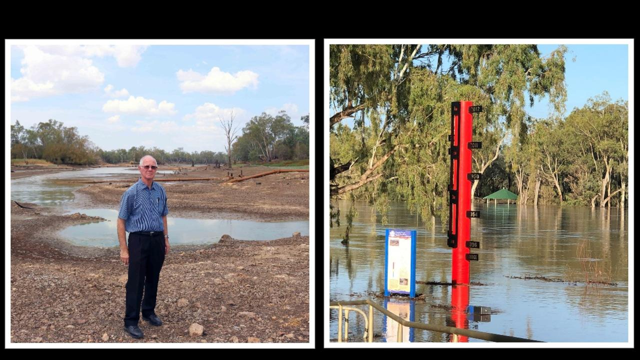 Before and after Balonne River floods, December 2019 and February 2020.