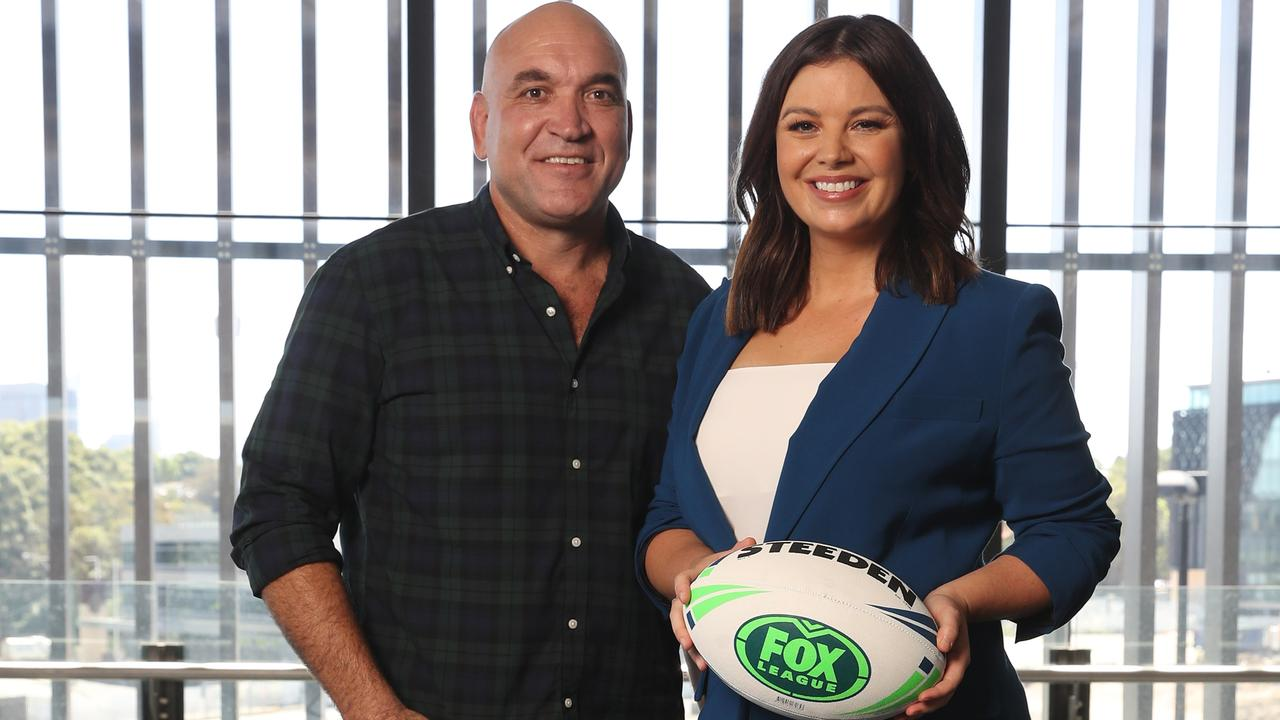 Gordon Tallis and Yvonne Sampson at the Fox League launch at the SCG. Photo: David Swift.