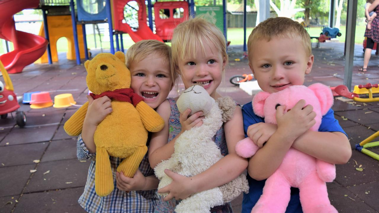 PICNIC TIME: Harry Hughes, Elizabeth Clemow and Wyatt Bender with their teddy bears at the Emerald Gumnuts Playgroup Teddy Bear Picnic.