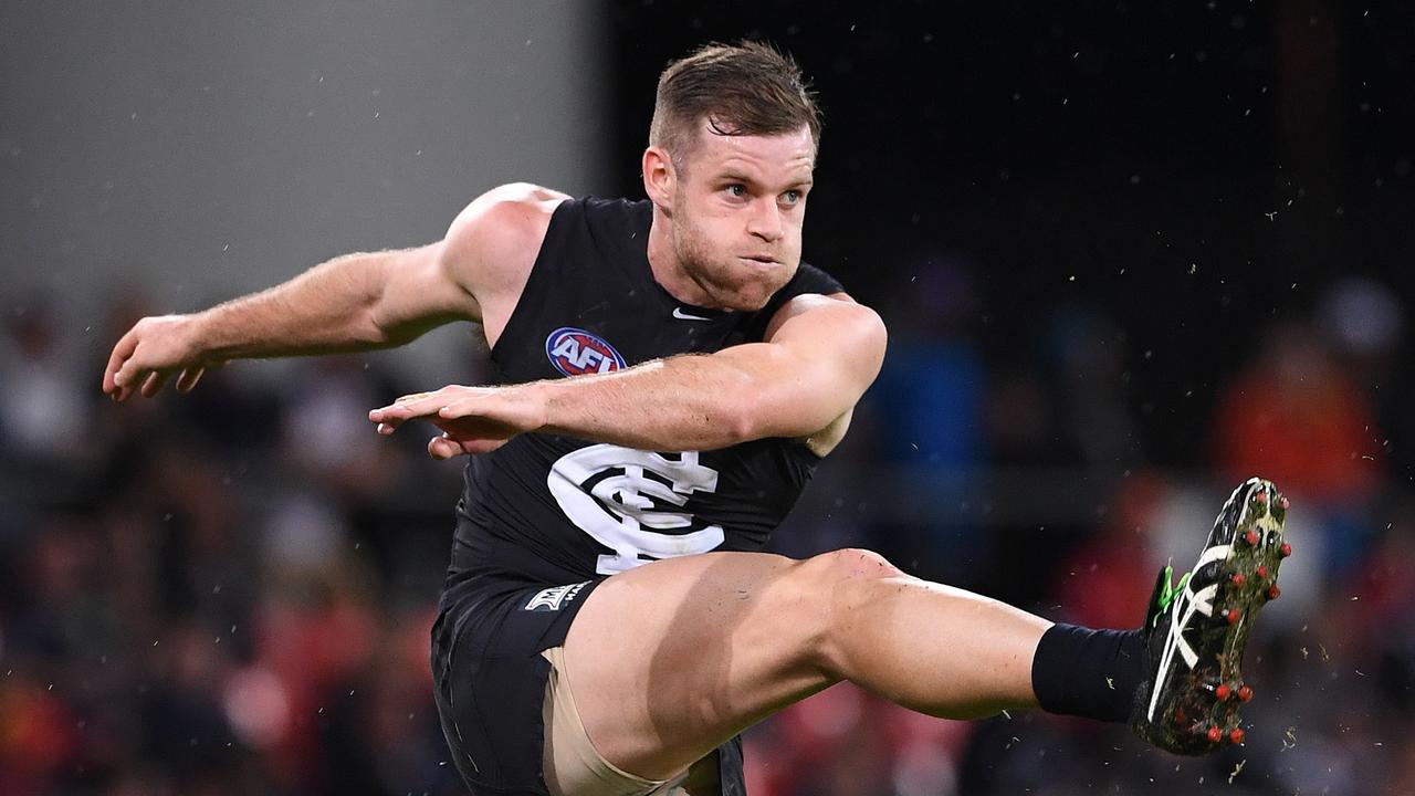 Sam Docherty launches Carlton forward during the 2017 campaign.