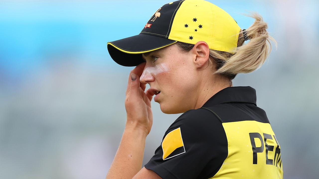 PERTH, AUSTRALIA - FEBRUARY 24: Ellyse Perry of Australia looks on during the ICC Women's T20 Cricket World Cup match between Australia and Sri Lanka at the WACA on February 24, 2020 in Perth, Australia. (Photo by Ryan Pierse/Getty Images)