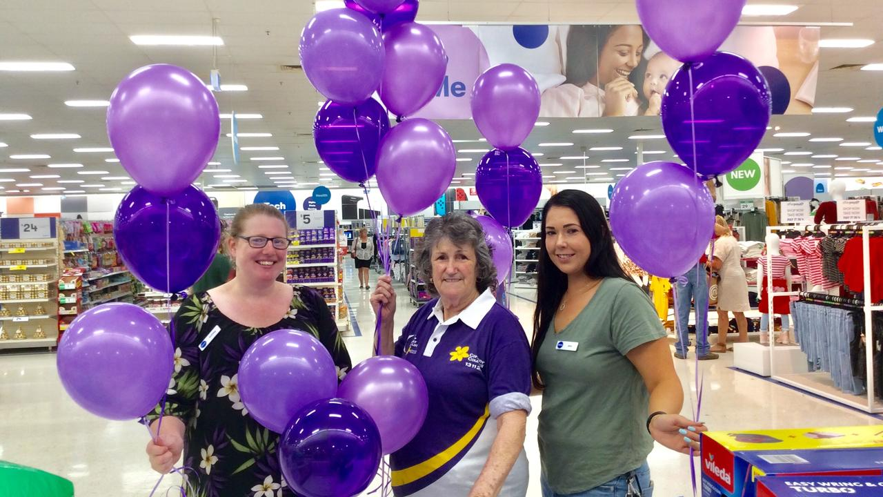 GO PURPLE: Lismore's Big W got into the spirit of Purple Week, ahead of the Lismore and Villages Relay for Life next month. Photo: Marie Cook
