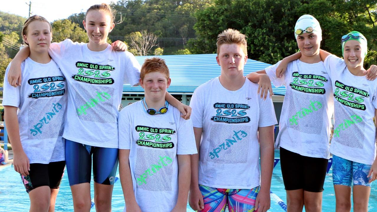 Kilkivan Stringrays Swimming Club champions Krystle Power trained (from left) Sasha Power, Tobi Geri, Drew Lahiff, Violette Murnane and Molli McLean.