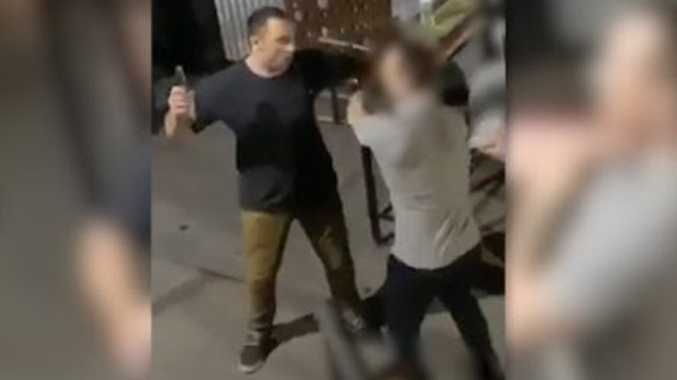 Moment man was viciously slashed in face