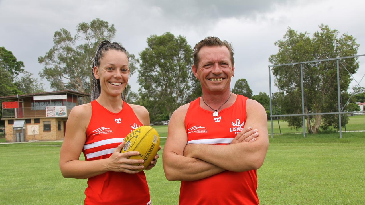 WOMEN'S FOOTY: Lismore Swans senior player Emma Stoddart and coach Shawn Holland are calling out for more females to come along and have a go at Aussie rules ahead of the 2020 season.