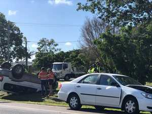 Morning crash leaves car on its roof, two in hospital