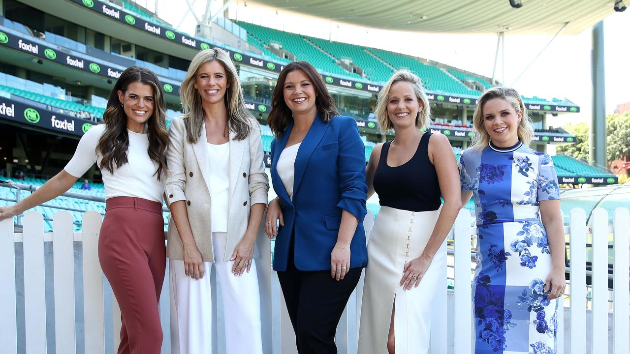 Hannah Hollis, Lara Pitt , Yvonne Sampson, Jessica Yates and Emma Freedman at the Fox League launch at the SCG ahead of the 2020 NRL season. Picture. Phil Hillyard