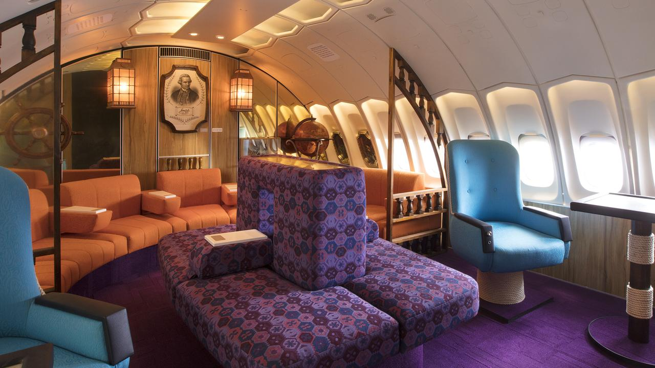 The replica set of the 1970s business class section.