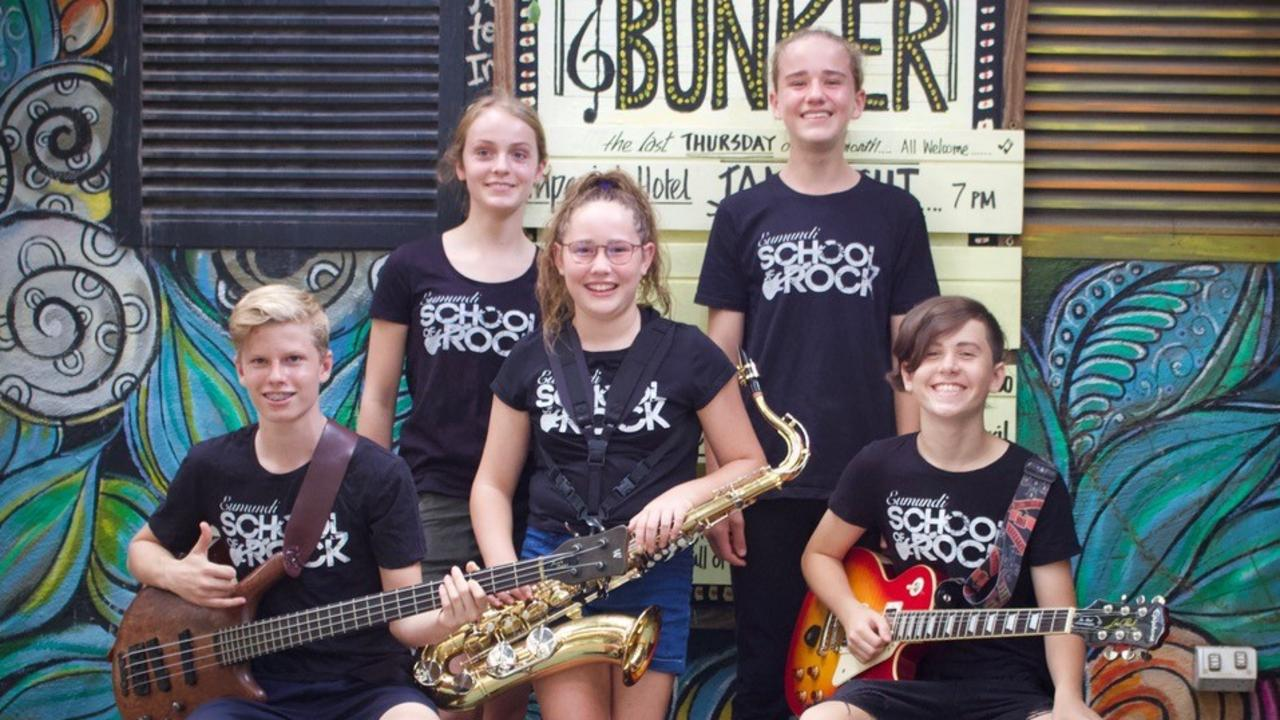 Promoting the Eumundi School of Rock auditions are (back row, from left) Rosie Robertson (vocals), Dexter Hurren (drums), (front row, from left) Oscar Huntley (bass), Charlee Williams (sax) and Lochie Kapper (guitar).