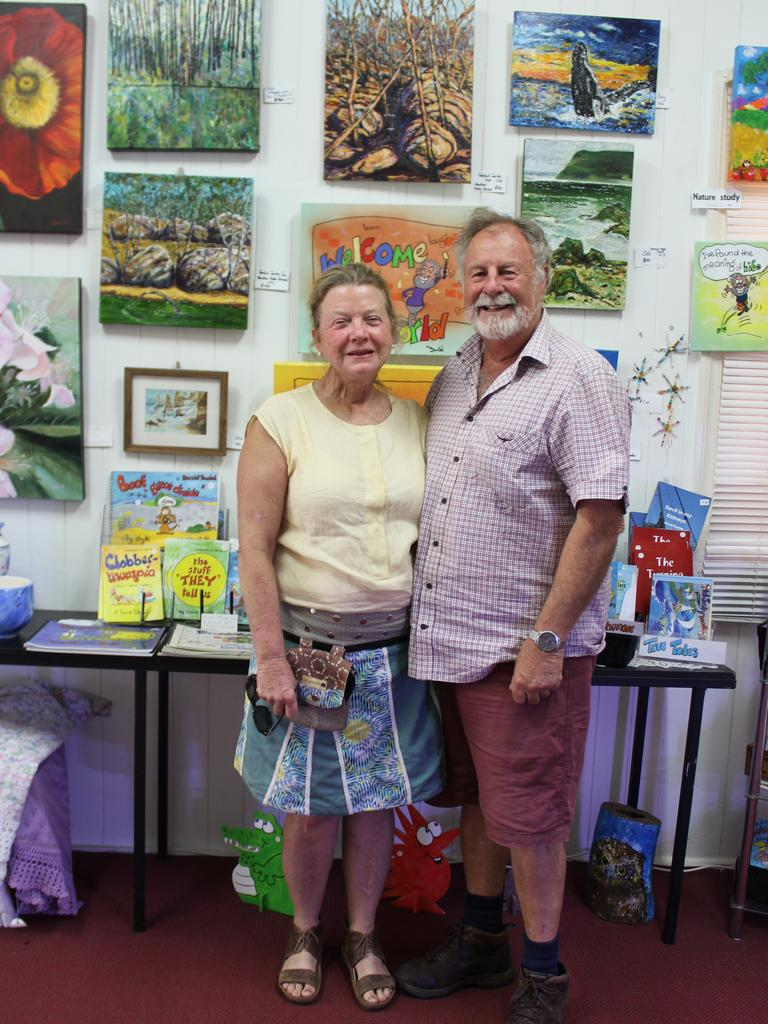Creative husband and wife duo Heather Krebs and David Daniel with their pieces on display at the Blackbutt Art Gallery. Photo: Laura Blackmore