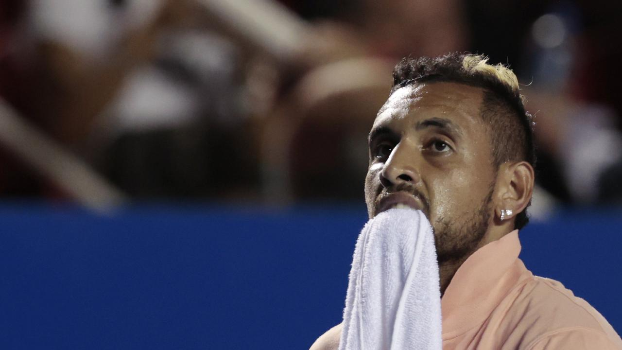 Nick Kyrgios bluntly told reporters he 'couldn't give a f***' when asked about the Mexican crowd, who booed him off the court on Wednesday.