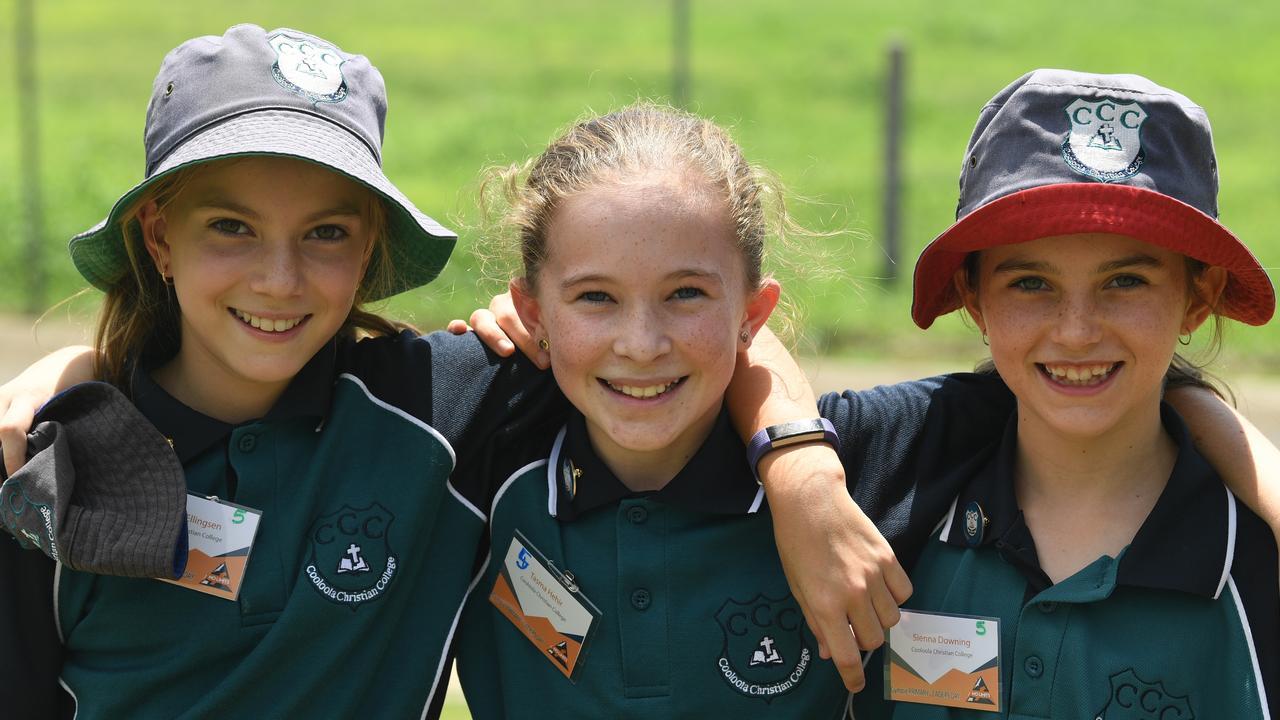 Cooloola Christian College primary school leaders Emilie Ellingsen, Tasma Hehir and Sienna Downing. Picture: Shane Zahner