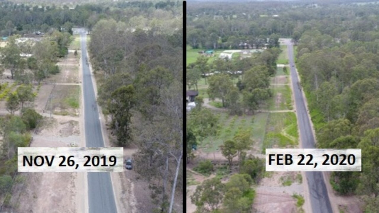 Aerial footage on Cliff Jones Road, Curra (left) showing tinder dry conditions in November 26, 2019 and (right) taken on February 22, 2020 with a bit more greenery after a month of rainfall. Photo: Philippe Coquerand
