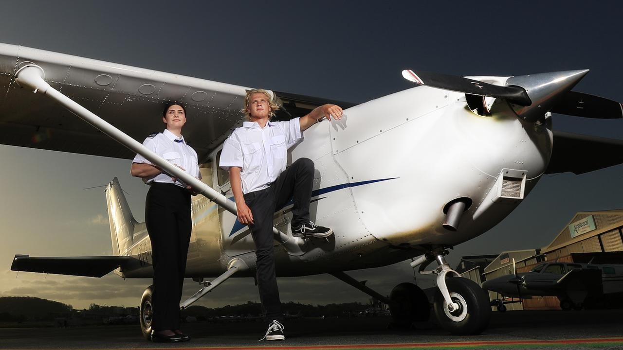 Southern Cross University students Indiana Marshall and Ryley Gardener are about to start their Pilot course at Air Gold Coast. Photo: Scott Powick