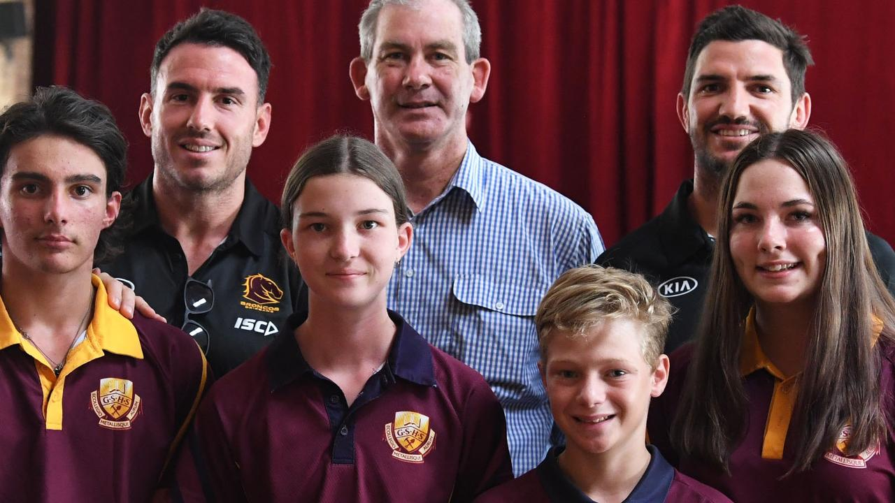 BDarius Boyd, Mick Curran, Matt Gillett and students Cameron Mercer, Caitlyn Van Doren, Jessie Amber and Kiarnah Lee at Gympie High earlier today. Picture: Shane Zahner