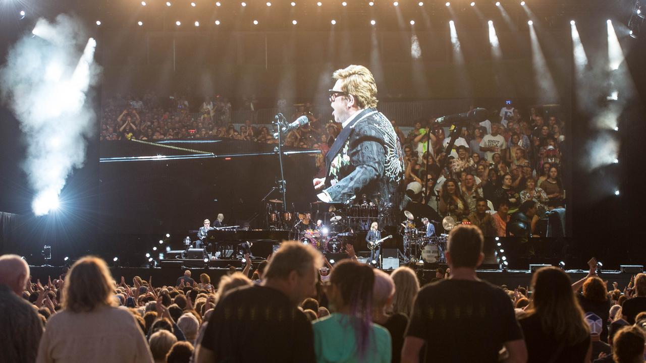 Elton John performs at C.ex International Stadium in Coffs Harbour.