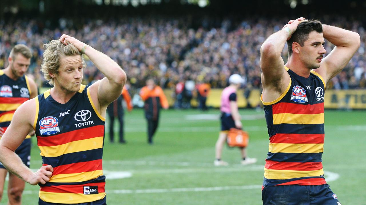 Rory Sloane (L) and Taylor Walker. Photo: Michael Dodge/AFL Media/Getty Images.