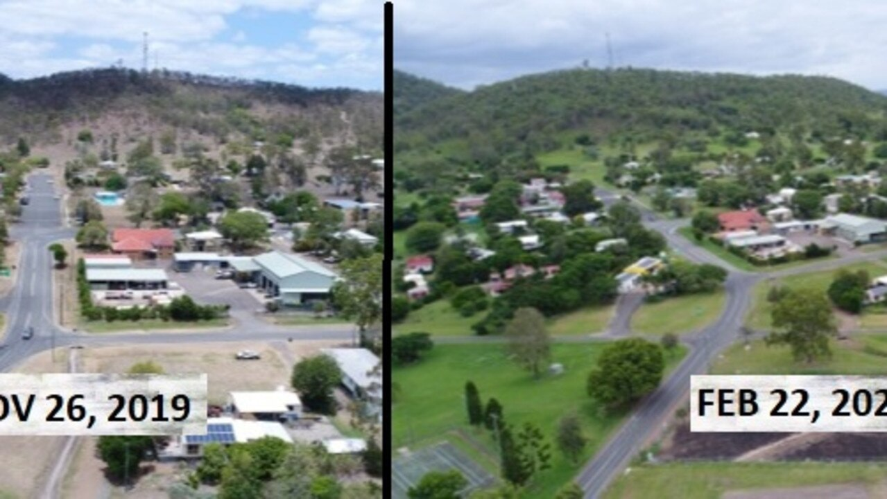 Aerial footage captured by drone of the Kilkivan township in tinder dry conditions (left) from the caravan park and how three months later Kilkivan has lush green grass captured on February 22, 2020 (right). Photo: Philippe Coquerand