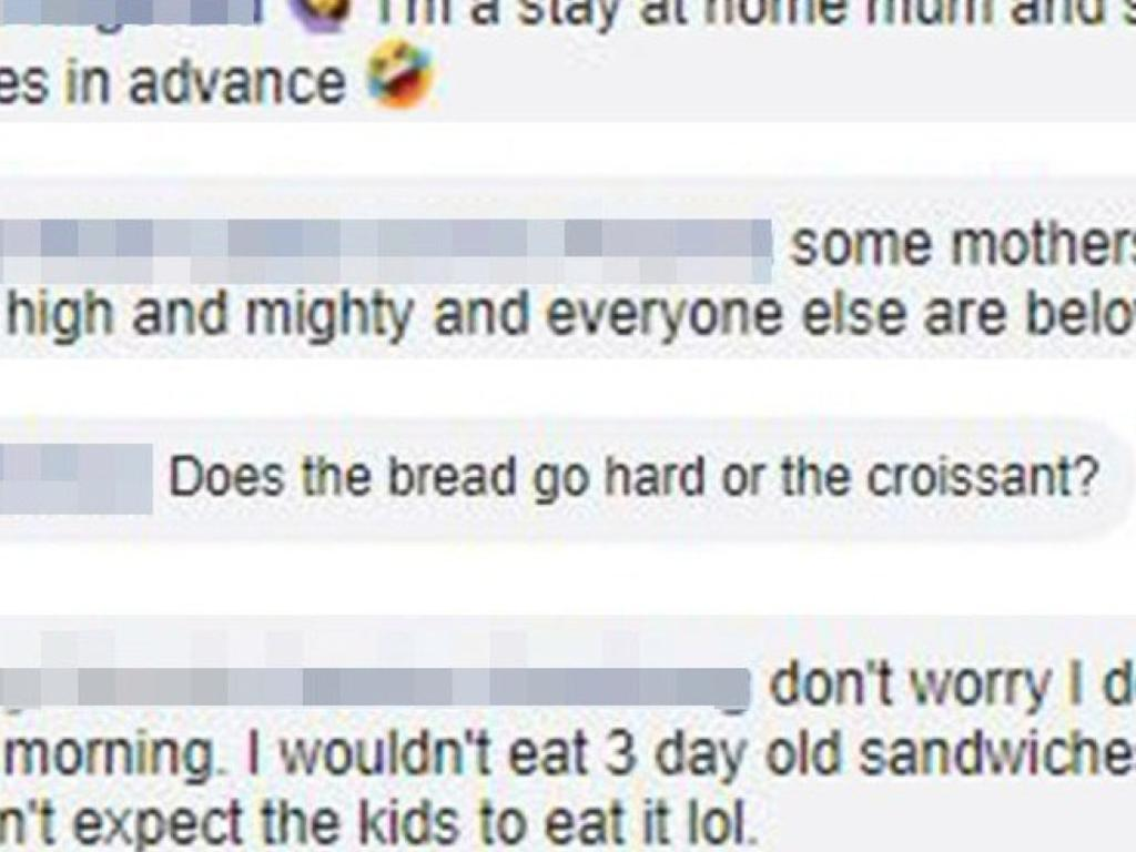 Mum reacts to lunch box shaming. Picture: Facebook/Lunchbox mums