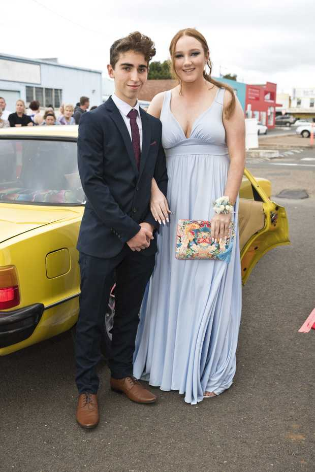 Image for sale: Josh Deadman and Imogen Gill arrive at St Joseph's College Inauguration Ball at Rumours International, Saturday, February 22, 2020. Picture: Kevin Farmer