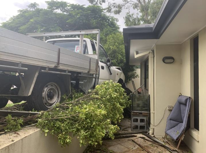 The P-plater's car plowed through a fence and tree, narrowing missing a house. Picture: Peter Wallis