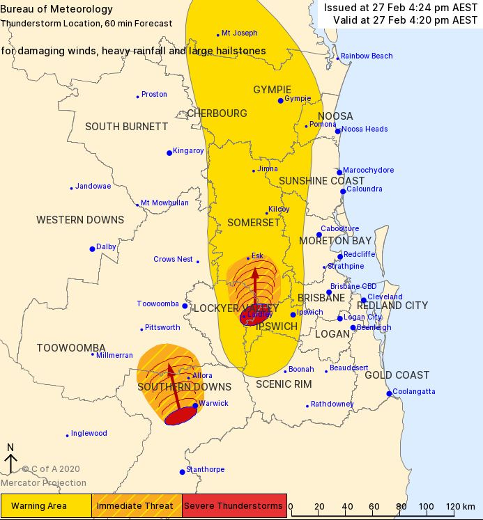 Storms detected in Southern Downs and Lockyer Valley on Thursday, February 27.
