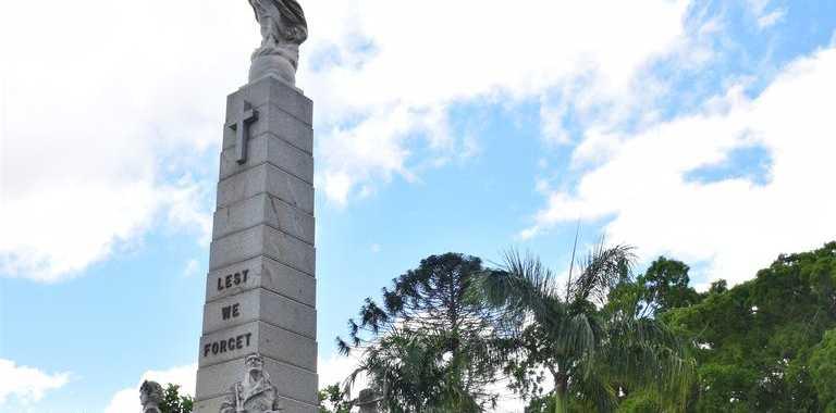 MEMORIAL GRANTS: State MP Bruce Saunders and Fraser Coast Regional Council CEO Ken Diehm at the Maryborough War Memorial. Photo: Stuart Fast