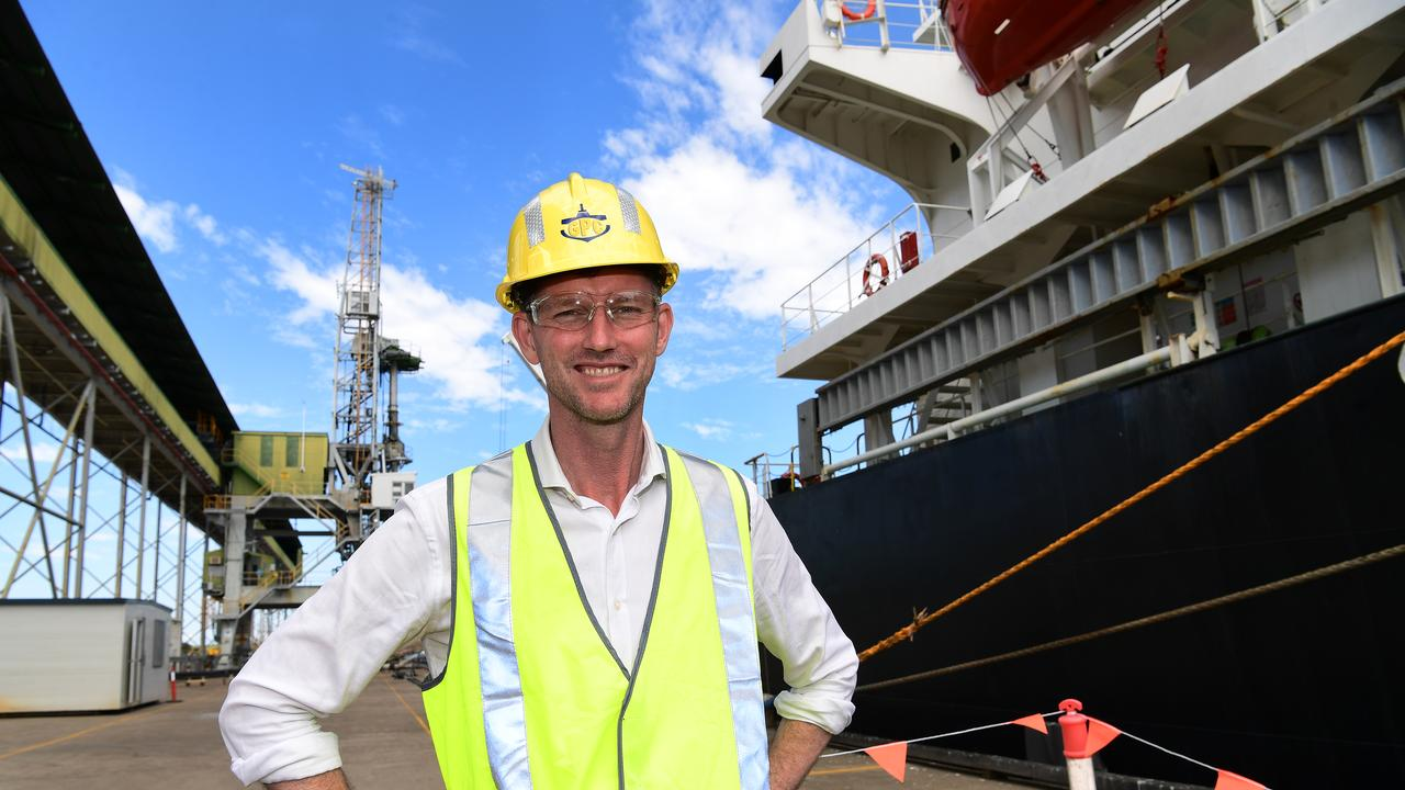 Minister for Transport and Main Roads Mark Bailey at the Bundaberg sugar terminal.