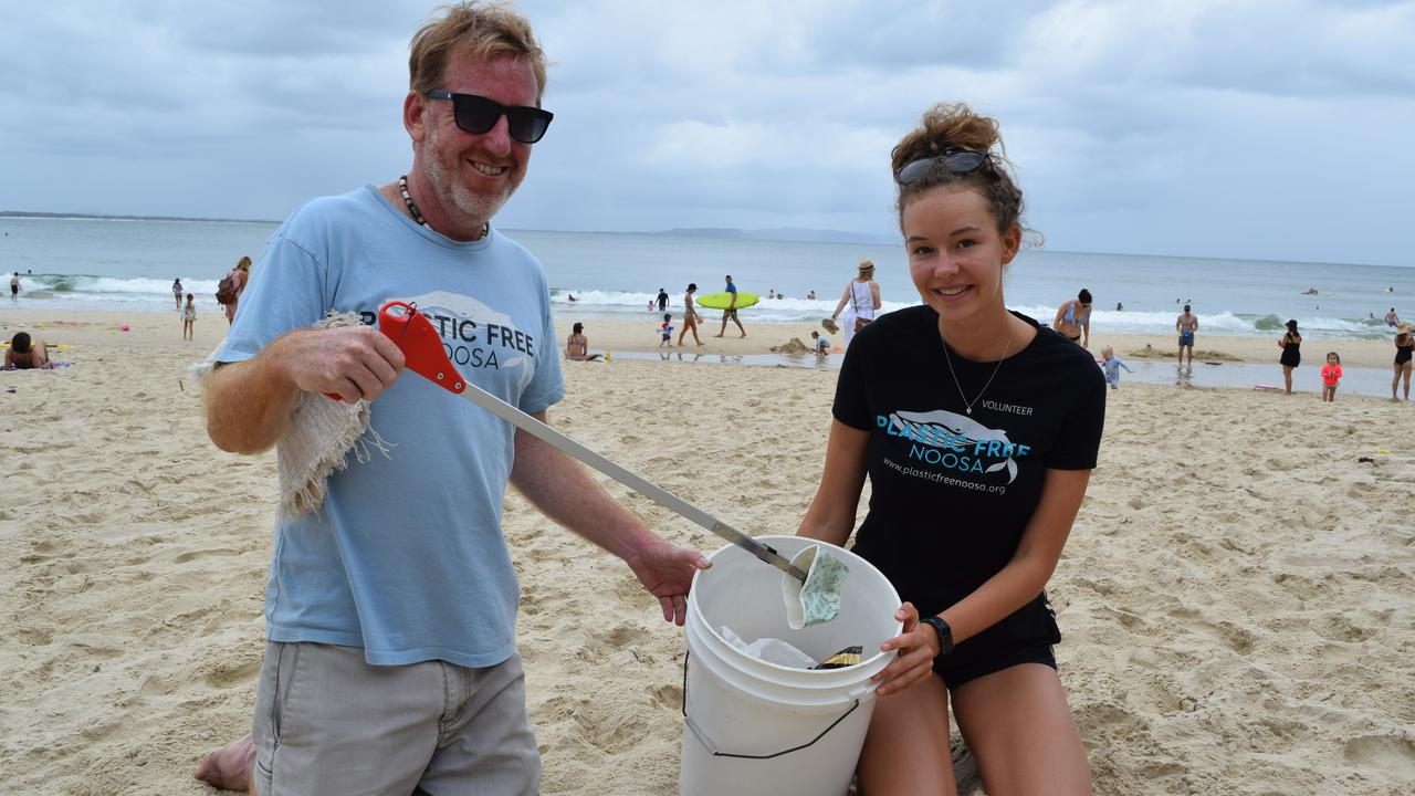 PLASTIC NOT FANTASTIC: Program manager Chad Buxton with youth ambassador Faith Roche.
