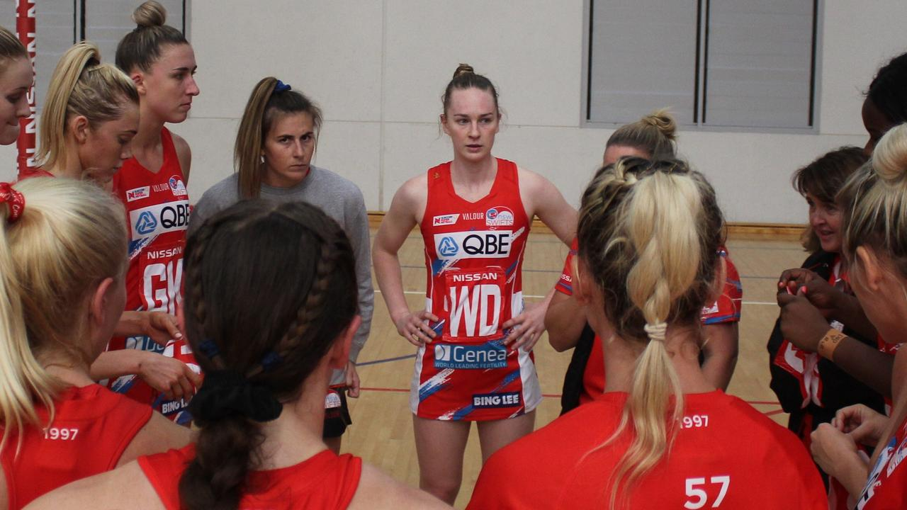 Leilani Rohweder (Centre) played in a preseason trial game for the NSW Swifts. Photo NSW Swifts