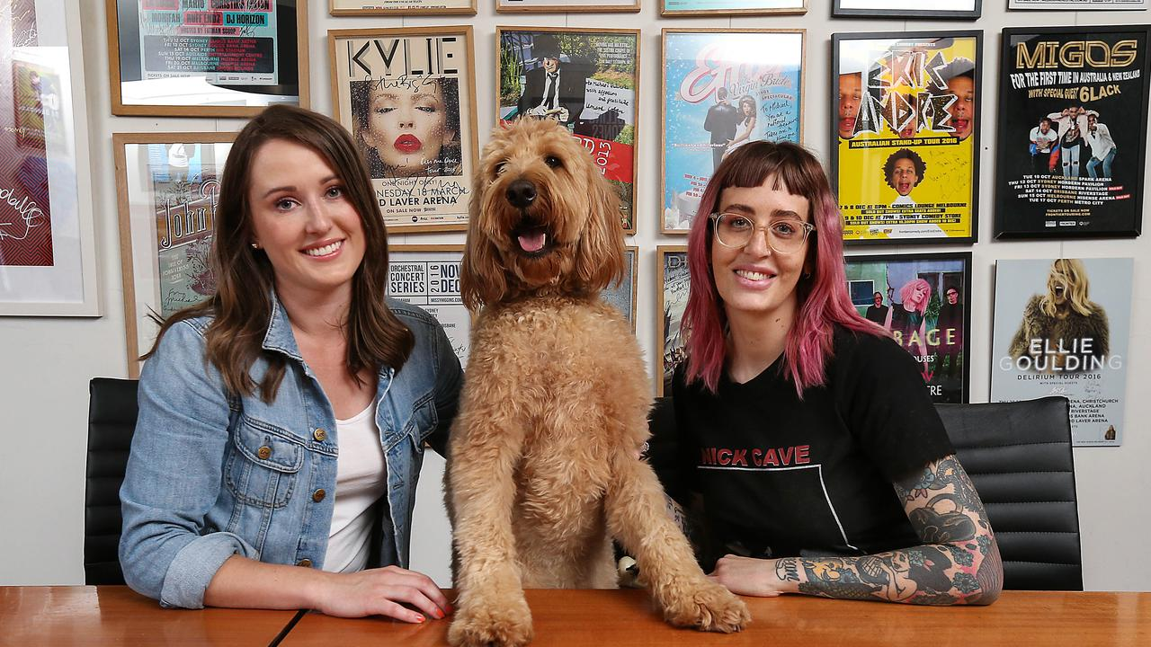 Dogs in the workplace and how they benefit employees and the working environment. Mushroom Group entertainment agency employees Alice Mouritz and Julia Nitert withTed in the boardroom at work. #australiasbestfriend Embargo February 23. Picture: Ian Currie