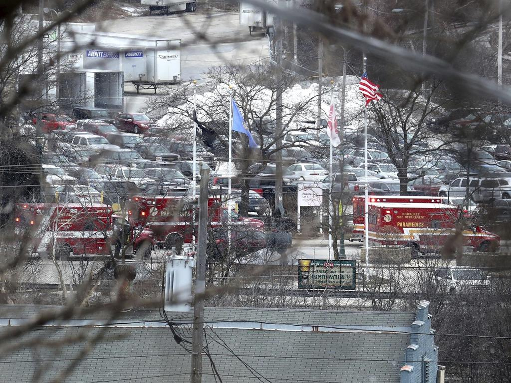 Milwaukee Police and Milwaukee Fire Department personnel respond to reports of an active shooting at the Molson Coors Brewing Co. campus in Milwaukee. Picture: AP