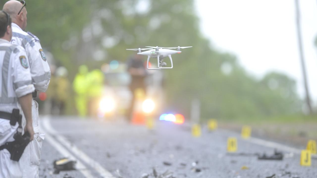 Police deployed a drone to photograph the scene for investigative purposes of a double fatality on the Summerland Way at Dilkoon north of Grafton on Saturday morning, 22nd February, 2020. Photo: Bill North