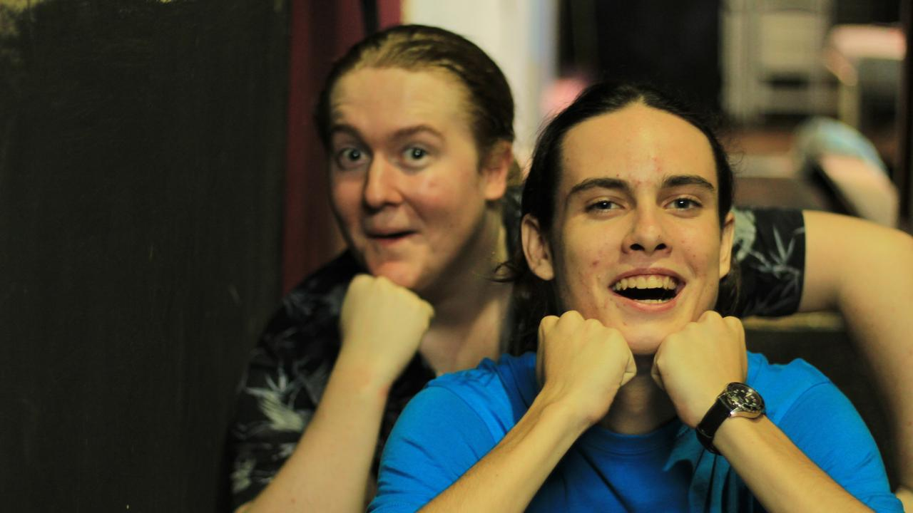 ON STAGE: Jacob Treloar and Boen Robertson rehearsing for Mamma Mia.