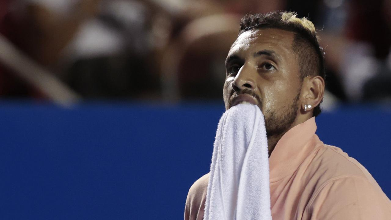 Australia's Nick Kyrgios during his opening-round match against France's Ugo Humbert at the Mexican Open. Picture: AP Photo/Rebecca Blackwell